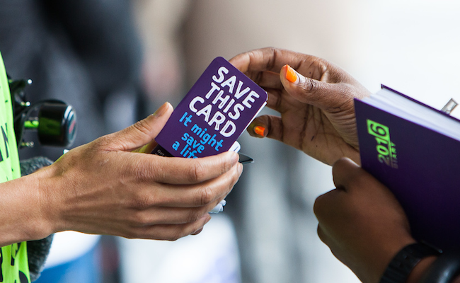 Samaritans sharing the z-card.